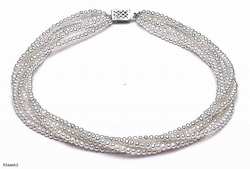 Naszyjnik zwijaniec, perły białe hodowane, słodkowodne okrągłe 4-4,5mm, zapięcie srebrne