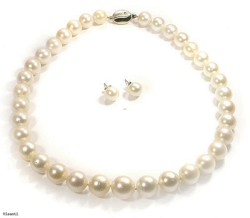 Komplet naszyjnik + kolczyki, perły białe australijskie okrągłe 11-13.5mm, złoto, brylanty