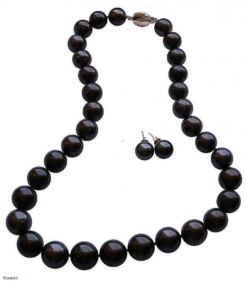 Komplet naszyjnik + kolczyki, perły czarne tahitańskie 11-14mm, złoto, brylanty