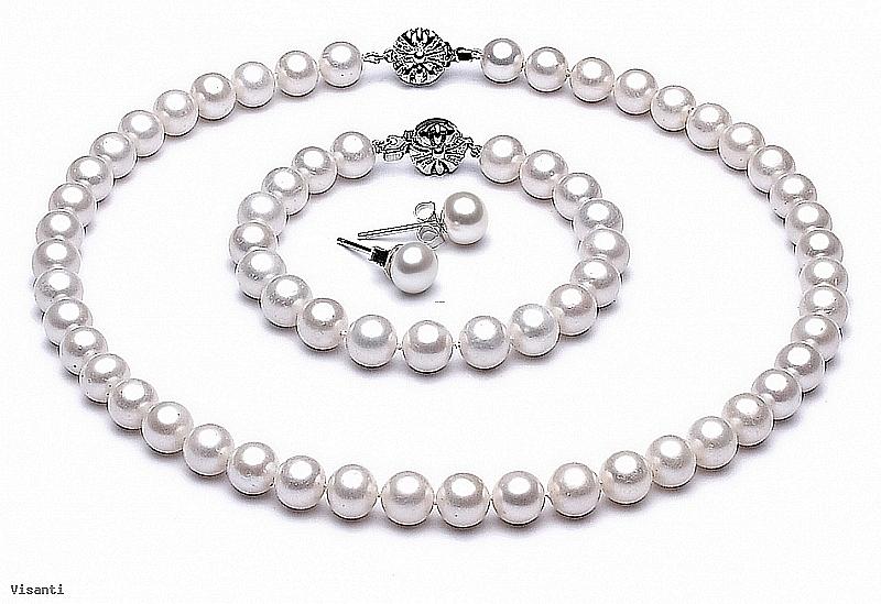 Komplet - naszyjnik, bransoleta i kolczyki - perły białe hodowane, słodkowodne okrągłe 8- 8,5mm, zapięcie srebrne rodowane