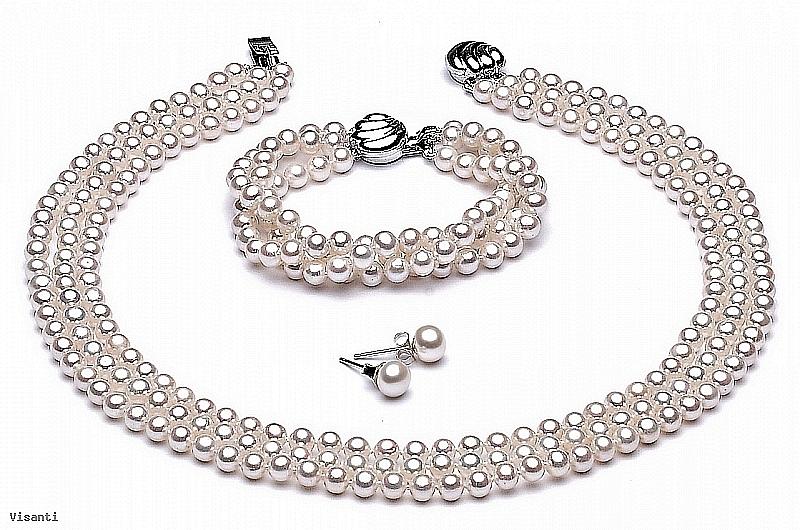 Komplet - naszyjnik, bransoleta i koliczyki - potrójny, perły białe hodowane, słodkowodne okrągłe 6-6.5mm, zapięcie srebrne rodowane