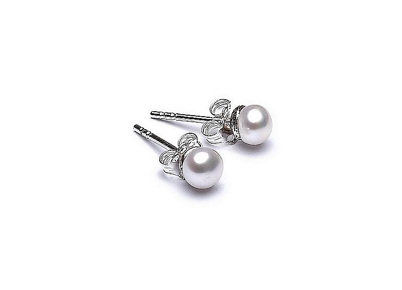 Kolczyki sztyft, perły białe hodowane, słodkowodne  5-5,5 mm, srebro