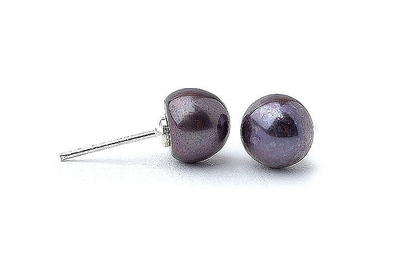 Kolczyki sztyft, perły grafitowe hodowane, słodkowodne  6-6.5mm, srebro