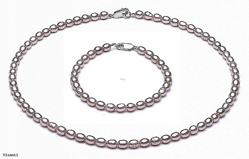 Komplet: naszyjnik z bransoletą, perły łososiowe hodowane, słodkowodne   4-5mm, zapięcie srebrne