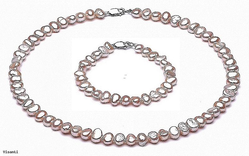Komplet Naszyjnik i Bransoleta, perły łososiowe hodowane, słodkowodne barok 7-8mm, zapięcie srebrne
