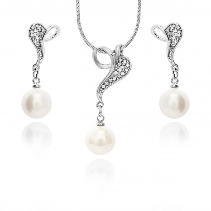Komplet-kolczyki z zawieszką-perły białe shell 10mm,zapięcie posrebrzane,rodowane
