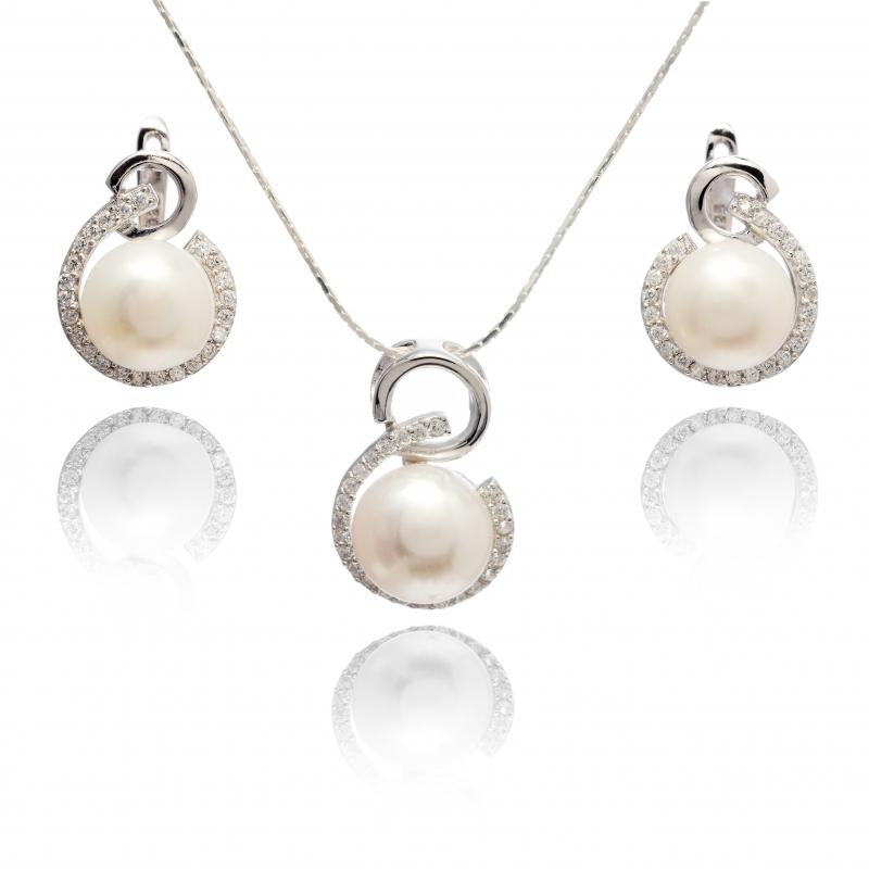Komplet-kolczyki z zawieszką- perła słodkowodna,hodowana,biała 9mm,srebro rodowane