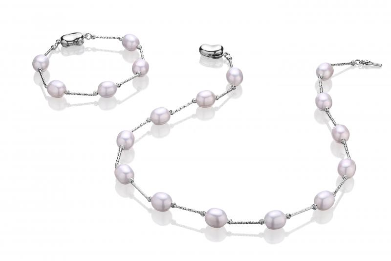 Komplet-naszyjnik i bransoleta-perły białe shell 10mm-zapięcie srebro rodowane
