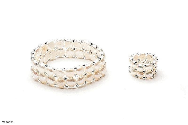 Bransoleta i pierścionek, perły białe hodowane, słodkowodne,  5-7,5mm