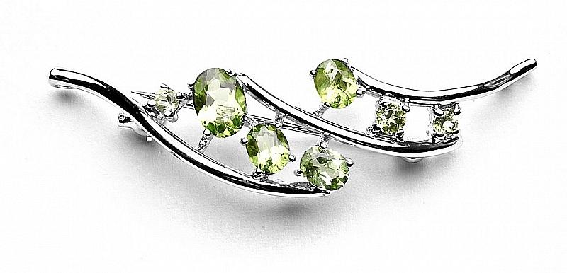 Broszko-zawieszka z kryształami zielonymi, srebro rodowane