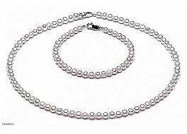 Komplet - naszyjnik i bransoleta - perły białe hodowane, słodkowodne okrągłe 4-4,5mm, zapięcie srebrne