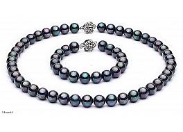 Komplet - naszyjnik i bransoleta - perły grafitowe shell okrągłe 8mm, zapięcia posrebrzane