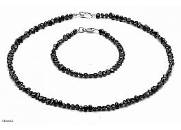 Komplet - naszyjnik i bransoleta - perły czarne hodowane, słodkowodne barok 4-4,5mm, zapięcie srebrne