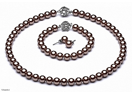 Naszyjnik + bransoleta + kolczyki, perły brązowe shell okrągłe 8mm, zapięcia posrebrzane
