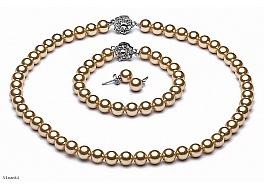Naszyjnik + bransoleta + kolczyki, perły złote shell okrągłe 8mm, zapięcia posrebrzane