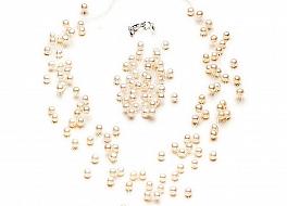 """Komplet naszyjnik """"pajęczynka"""" 10 żyłek + bransoleta, perły białe hodowane, słodkowodne okrągłe ok 5.5mm"""