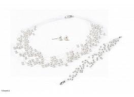 """Komplet naszyjnik """"pajęczynka"""" 10 żyłek + bransoleta + kolczyki, perły białe hodowane, słodkowodne okrągłe 4-4.5mm, zapięcie srebrne"""
