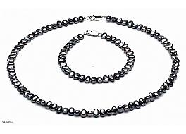 Komplet - naszyjnik i bransoleta - perły grafitowe hodowane, słodkowodne barok 5-5,5mm, zapięcie srebrne