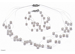 Set - necklace & bracelet, 5 strands, white, freshwater pearls, round, 3-7mm