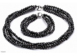 Komplet - naszyjnik i bransoleta - zwijaniec, perły czarne hodowane, słodkowodne barok 5-5.5mm, zapięcie srebrne