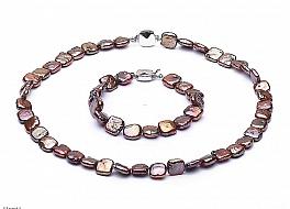 Komplet - naszyjnik i bransoleta - perły brązowe hodowane, słodkowodne kwadratowe 9-10mm, zapięcie srebrne rodowane