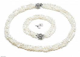 Komplet - naszyjnik,bransoleta i kolczyki - zwijaniec, perły białe hodowane, słodkowodne nieregularne