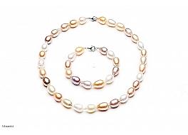 Komplet - naszyjnik i bransoleta - perły biało-łososiowe hodowane, słodkowodne 10-11mm, zapięcie srebrne