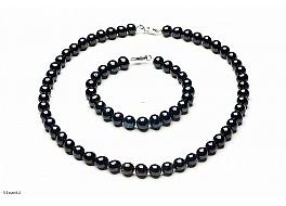 Komplet - naszyjnik i bransoleta - perły czarne hodowane, słodkowodne okrągłe 8-8.5mm, zapięcie srebrne