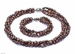 Komplet - potrójny naszyjnik i bransoleta - perły brązowe hodowane, słodkowodne nieregularne 6.5-7mm, zapięcie srebrne rodowane