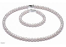 Komplet - naszyjnik i bransoleta - perły białe hodowane, słodkowodne okrągłe 8-8,5mm, zapięcie srebrne