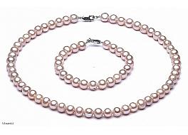 Komplet - naszyjnik i bransoleta - perły łososiowe hodowane, słodkowodne okrągłe 8-8,5mm, zapięcie srebrne