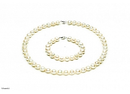 Komplet - naszyjnik i bransoleta - perły białe hodowane, słodkowodne owalne 10-10,5mm