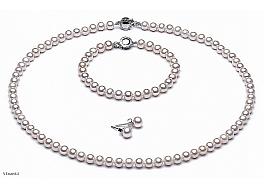 Komplet - naszyjnik, bransoleta i kolczyki - z pereł 6-6,5mm. Zapięcie srebrne rodowane