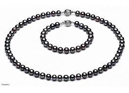 Komplet - naszyjnik, bransoleta i kolczyki - z pereł grafitowych okrągłych wielkości 6-6,5mm. Zapięcie srebrne rodowane