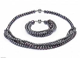 Komplet - naszyjnik i bransoleta - wykonany z grafitowych pereł różnego kształtu, zapięcie srebrne rodowane