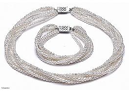 Komplet - naszyjnik i bransoleta - zwijaniec, perły białe hodowane, słodkowodne okrągłe 4-4,5mm, zapięcie srebrne