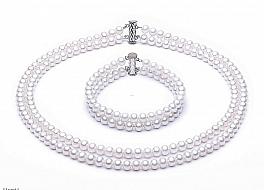Komplet - naszyjnik i bransoleta - dwa sznury pereł białych hodowanych, słodkowodnych, okrągłych, 6-6.5mm, zapięcie srebrne rodowane