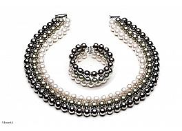 Komplet - naszyjnik i bransoleta - potrójny, perły shell okrągłe 8mm, zapięcie posrebrzane