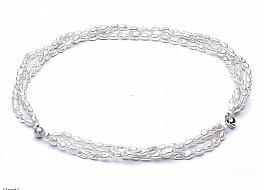 Naszyjnik z bransoletą z pereł hodowanych, słodkowodnych, białych, nieregularnych, zapięcie srebrne rodowane