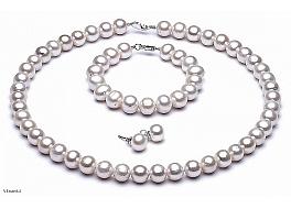 Komplet - naszyjnik, bransoleta i kolczyki - perły białe okrągłe hodowane, słodkowodne 11-11,5mm, zapięcie srebrne