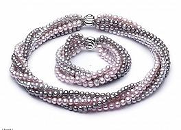 Komplet - naszyjnik i bransoleta - zwijaniec, perły hodowane, słodkowodne kolorowe okrągłe 6-6,5mm, zapięcie srebrne