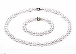 Komplet - naszyjnik i bransoleta - perły białe hodowane, słodkowodne okrągłe 8-8.5mm, zapięcie złote
