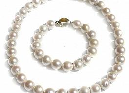 Komplet naszyjnik + bransoleta, perły białe hodowane, słodkowodne okrągłe 11-12mm, złoto 14K, brylanty