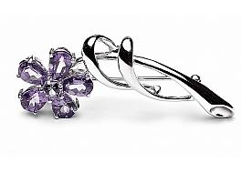 Broszko-zawieszka z fioletowymi i zielonym kryształem, srebro rodowane