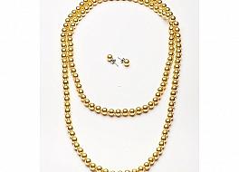 Komplet - naszyjnik z kolczykami - perły shell, kolor złoty, 8mm