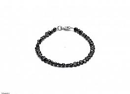 Bransoleta, perły czarne hodowane, słodkowodne barok 4-4,5mm, zapięcie srebrne