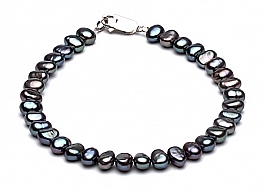 Bransoleta, perły grafitowe słodkowodne barok 5-5,5mm, zapięcie srebrne