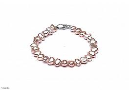 Bransoleta, perły łososiowe hodowane, słodkowodne barok 7-8mm, zapięcie srebrne