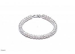 Bransoleta, perły białe hodowane, słodkowodne ok.6 mm, zapięcie srebrne