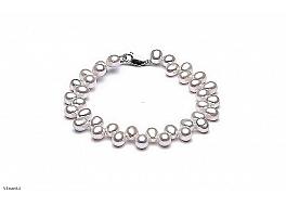Bransoleta, perły białe hodowane, słodkowodne 6-7 mm, zapięcie srebrne